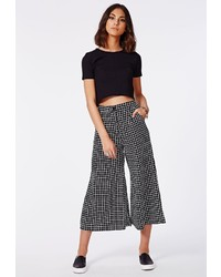 Missguided edele grid print cropped trousers black medium 123084