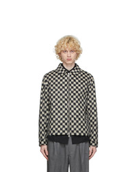 Black and White Check Wool Harrington Jacket