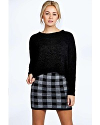 Boohoo Rosie Knitted Checked Mini Skirt