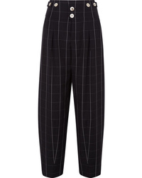 Chloé Checked Wool Wide Leg Pants