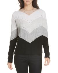 Autumn Cashmere Chevron Stripe Cashmere Sweater