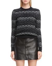 Saint Laurent Metallic Mohair Zigzag Sweater