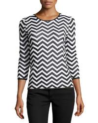 Paperwhite Three Quarter Sleeve Chevron Striped Sweater Whiteblack