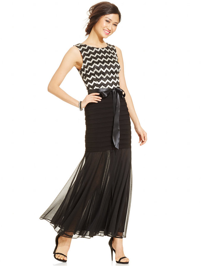 Betsy & Adam Chevron Banded Chiffon Gown | Where to buy & how to wear