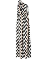 Lanvin Chevron Pattern One Shoulder Dress
