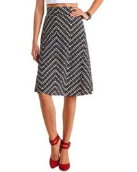 Charlotte russe abstract chevron print full midi skirt medium 76278