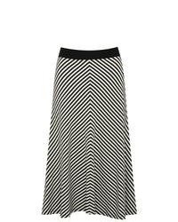 M&Co Chevron Stripe Jersey A Line Skirt Black And Ivory 18