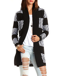 Charlotte russe chevron striped duster cardigan sweater medium 117328