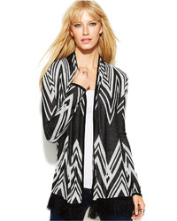 Petite chevron print fringed cardigan medium 117326