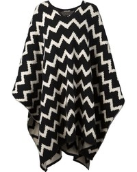 The elder statesman chevron knit poncho medium 347537