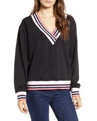 Black and White Chevron V-neck Sweater