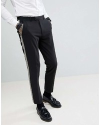 Asos Design Skinny Tuxedo Suit Pants In Black With Gold Honeycomb Effect Side Stripe