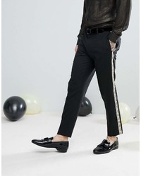 Asos Skinny Suit Pants In Black With Gold Brocade Side Stripe
