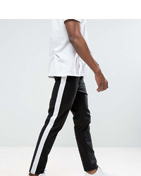 Asos Tall Slim Cropped Pants With Side Stripe In Black