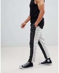 ASOS DESIGN Tapered Smart Trousers In Half Half Check