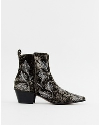 ASOS Edition Cuban Heel Boots In Grey Velvet With Embroidery