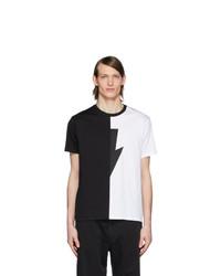Neil Barrett Black And White Thunderbolt T Shirt