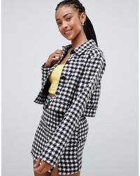 Emory Park Trucker Jacket In Houndstooth Co Ord