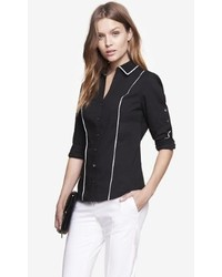 Express Contrast Piping Convertible Sleeve Essential Shirt