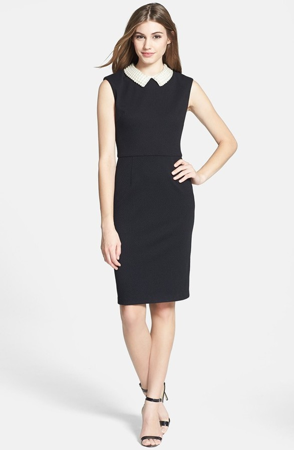 Betsey Johnson Faux Pearl Collar Sheath Dress | Where to buy & how ...
