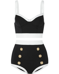 Balmain Button Embellished Two Tone Bikini