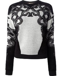 Black and White Embroidered Crew-neck Sweater