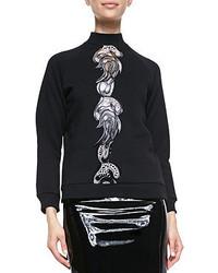 Mock neck sweatshirt with embroidered center medium 49978