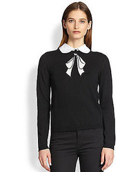 Peter pan collared wool embroidered bow sweater medium 49979