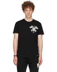 Alexander McQueen Black Embroidered Papercut Skull T Shirt