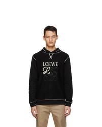 Loewe Black And Off White Anagram Embroidered Hoodie