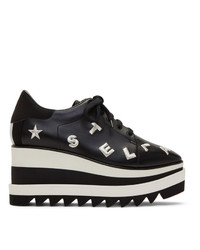 Stella McCartney Black And Silver Embroidered Elyse Sneakers