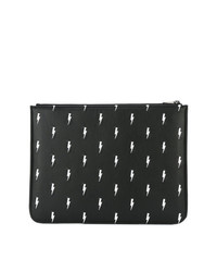 Neil Barrett Lightning Bolt Embroidered Clutch
