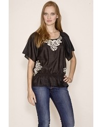 Joie Cala Embroidered Top In Caviar