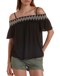Charlotte Russe Embroidered Cold Shoulder Peasant Top