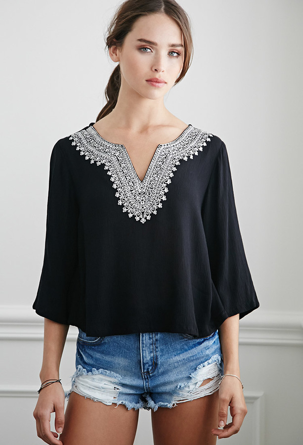 e7c2008d70b1a5 ... Black and White Embroidered Peasant Blouses Forever 21 Embroidered  Gauze Peasant Top ...