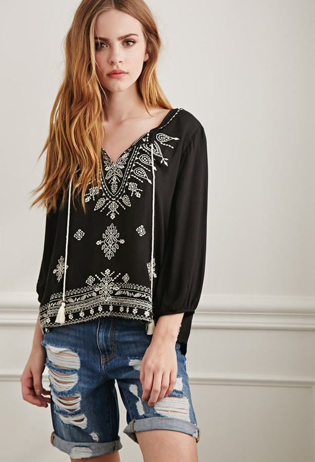 8199c137913209 ... Black and White Embroidered Peasant Blouses Forever 21 Paisley Embroidered  Peasant Top ...