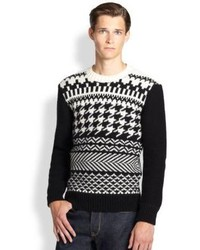 Black and White Fair Isle Crew-neck Sweater