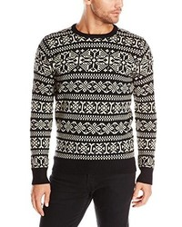 Black and White Fair Isle Crew-neck Sweaters for Men | Men's Fashion
