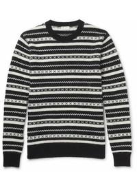 Saint Laurent Fair Isle Jacquard Knit Mohair Blend Sweater