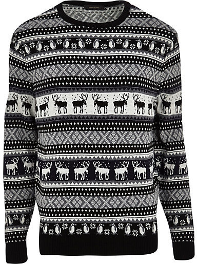 River Island Grey Reindeer Fair Isle Christmas Sweater | Where to ...