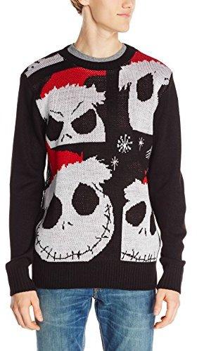 disney jack skellington ugly christmas sweater - Black Ugly Christmas Sweater