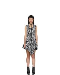 Mugler Black And White Tapestry A Line Dress