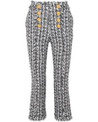 Balmain Cropped Button Embellished Tweed Bootcut Pants