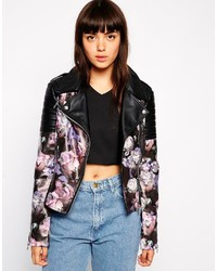 Asos Collection Biker Jacket With Jewel Print