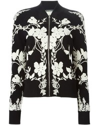 Black and White Floral Bomber Jacket