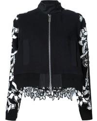 Embroidered floral panel bomber jacket medium 535853