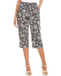 Black and White Floral Capri Pants