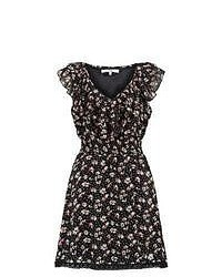 Black and White Floral Casual Dress