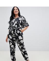 Uttam Boutique Plus Short Sleeve Floral Monochrome Jumpsuit
