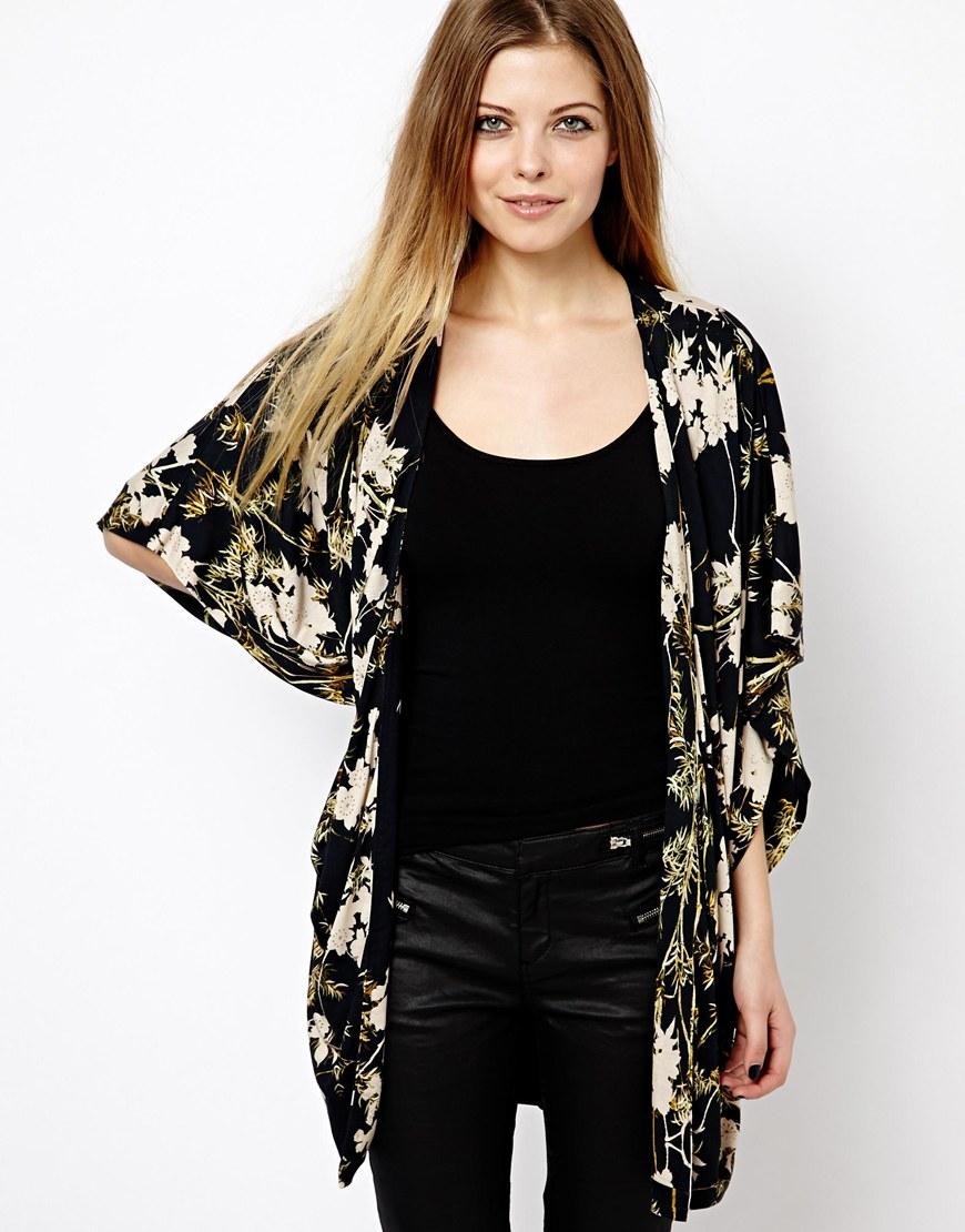 Asos Kimono Cardigan In Dark Floral Print
